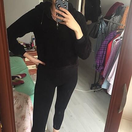 Siyah peluş sweat