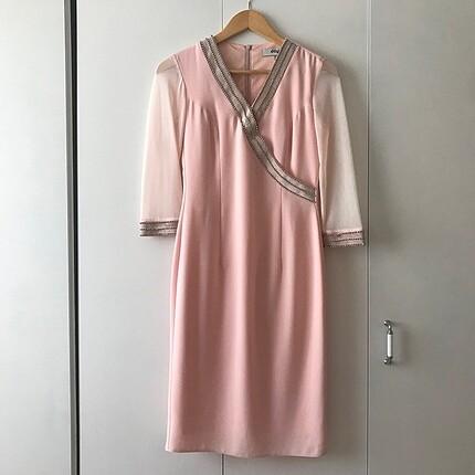 Dayı pudra abiye elbise