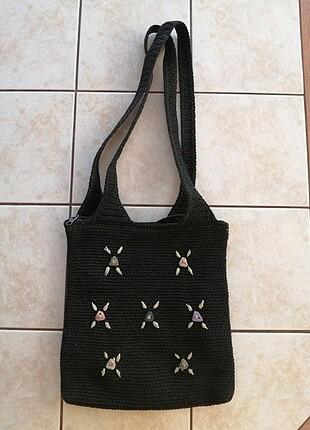 Askılı siyah örgü çanta