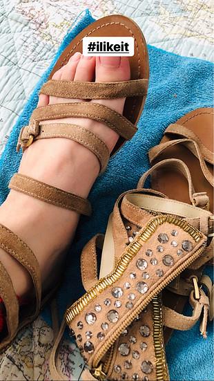 Pull and Bear P&B pull and bear sandalet taşlı işlemeli