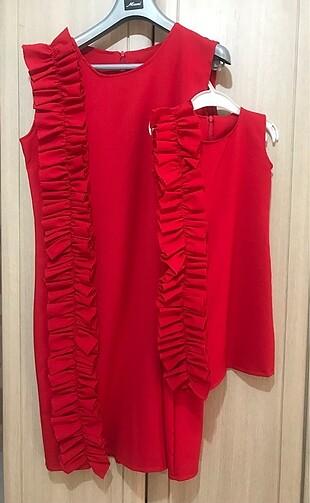 Anne-Kız Tasarım Elbise Anne 38-40 kız 3-4 yaş