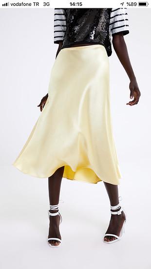 Zara saten sarı etek
