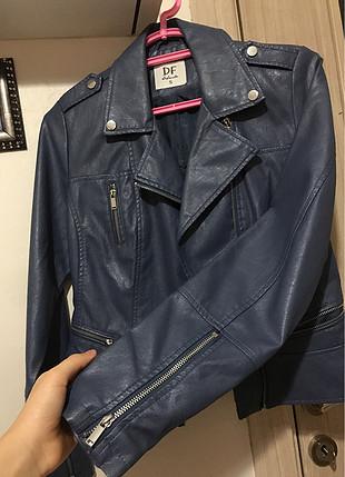 mavi deri ceket