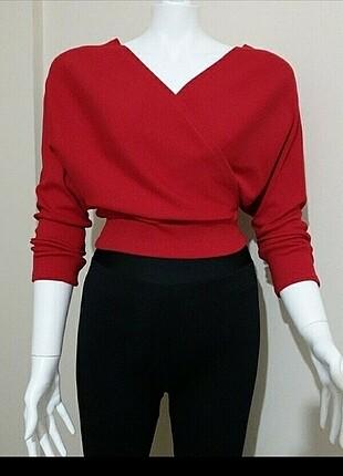 Kırmızı kruvaze bluz