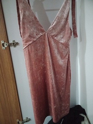H&M Kadife pudra rengi elbise