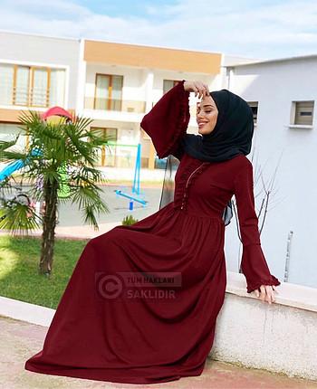 Bordo fırfırlı elbise