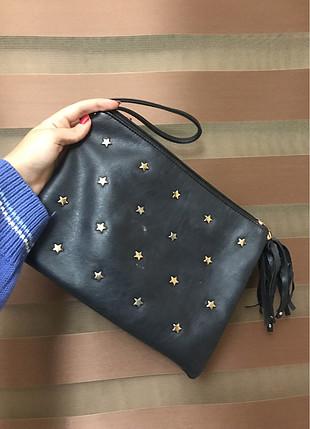 siyah yıldızlı el çantası