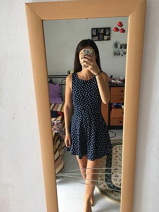 36 Beden lacivert Renk Puantiyeli elbise