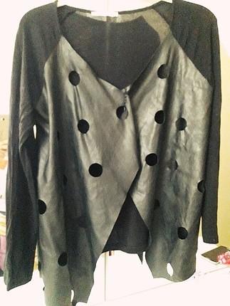 ön kısmi deri detay ceket
