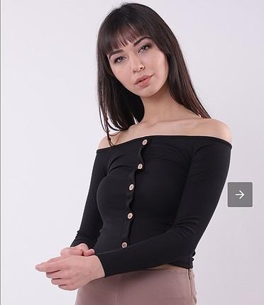kayık yaka düğmeli bluz