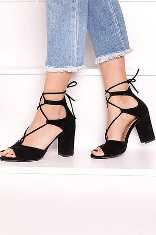 İpli topuklu ayakkabı