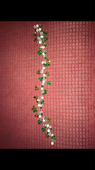 Düğün nişan tacı yeşil inci detaylı