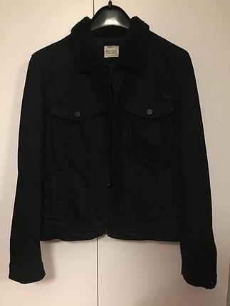 orjinal mango yakası kürk detaylı kot ceket