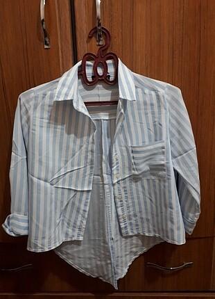 m Beden beyaz Renk Çizgili şık gömlek