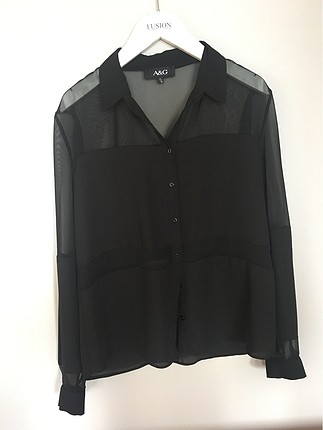 transparan tül şifon üst gömlek bluz