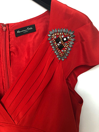 l Beden kırmızı Renk Massimo Dutti İpek Elbise