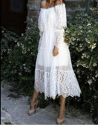 beyaz dantelli elbise bir kere dış çekim için giyildi
