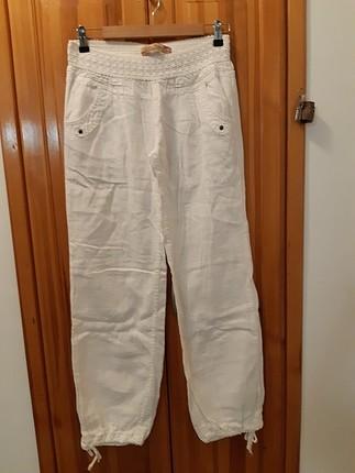 beyaz keten pantalon