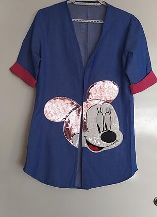 Mickey mouse jean kot blazer ceket