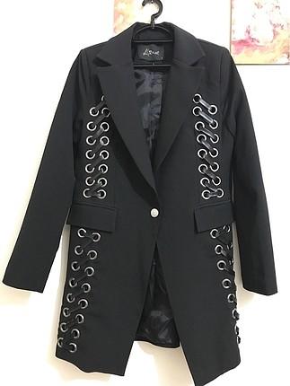 Siyah kumaş deri detay ceket