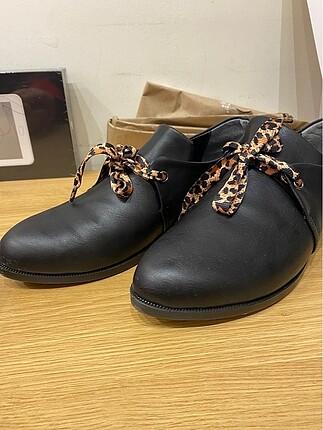 39 Beden Zara oxford/loafer ayakkabı leopar