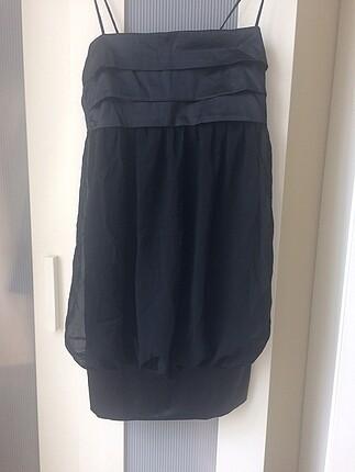 Zara saten detaylı siyah elbise