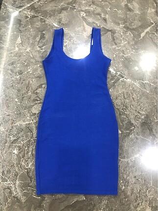 Pull&Bear Mavi fiyonkdetaylı mini Elbise
