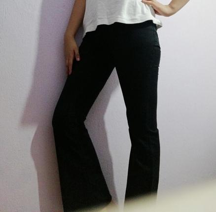 siyah İspanyol paça pantolon