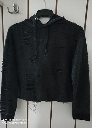 Yırtık ip detayli sweatshirt