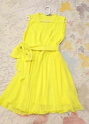 şifon limon sarısı elbise