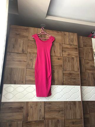 Fuşya penye elbise