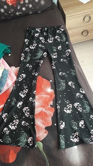 çiçekli ispanyol dar penye pantolon