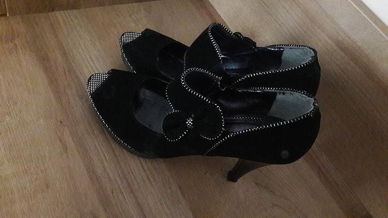 inci siyah süet platform ayakkabı