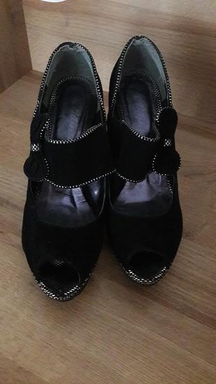 38 Beden siyah süet platform ayakkabı