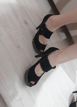38 Beden siyah Renk siyah süet platform ayakkabı