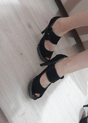 siyah süet platform ayakkabı