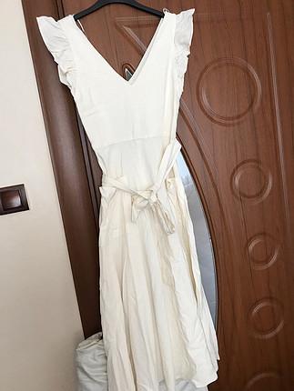 Zara Zara ekru rengi elbise