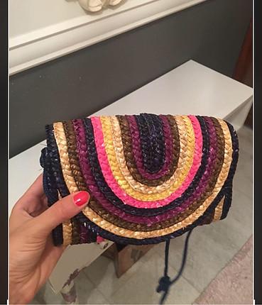 Diğer Renkli hasır çanta