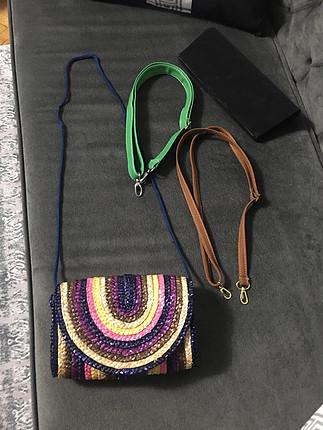 Renkli hasır çanta