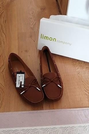 limon taba düz ayakkabı