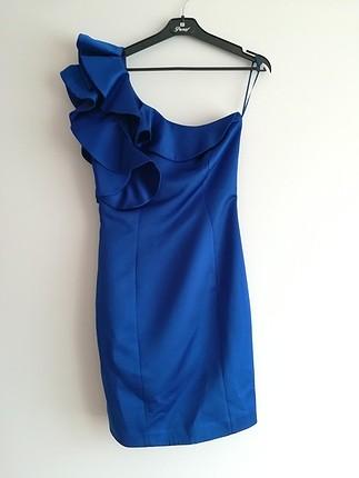 949c168eeedd8 Saks Mavisi Mini Abiye Elbise Koton Kısa Abiye %66 İndirimli - Gardrops