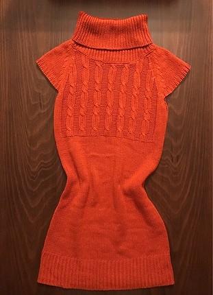 C&A Yessica Boğazlı Yünlü Turuncu Elbise