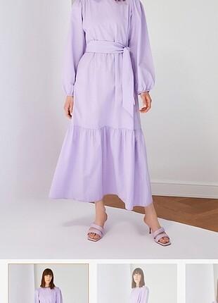 m Beden Lila tesettür elbise