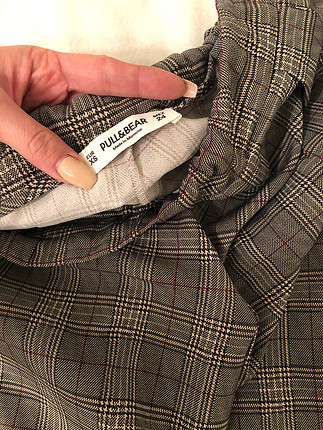Yanı bordo çizgili kumaş pantolon