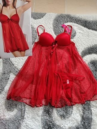 kırmızı babydoll Gecelik ml beden