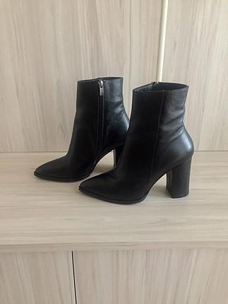Hakiki deri topuklu ayakkabı-bot