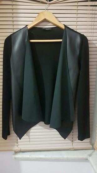 deri detaylı ceket