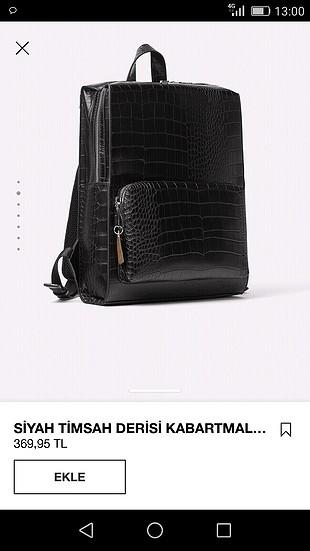 universal Beden siyah Renk Zara timsah derisi kabartmalı sırt çantası