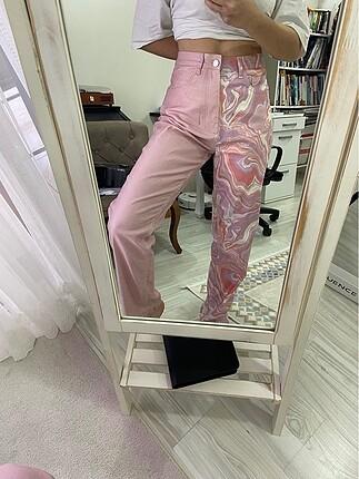 çift taraflı desenli pembe pantolon