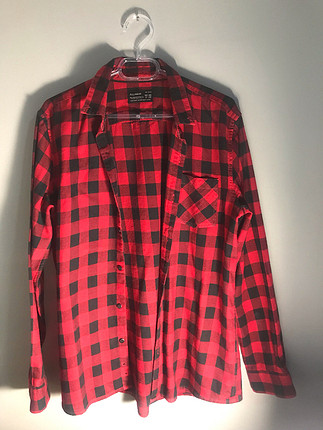 Pull and Bear Kırmızı siyah kareli gömlek